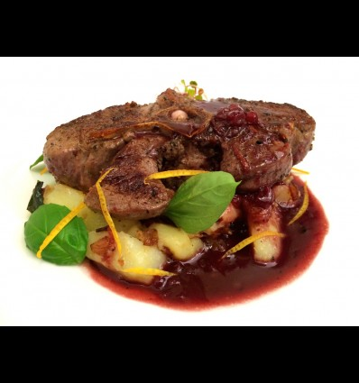 VENISON SADDLE, MASHED POTATOES WITH ONIONS AND PORT WINE SAUCE WITH CRANBERRIES