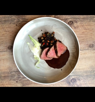 VENISON FILLET WITH BELUGA LENTILS, CAULIFLOWER PURÉE AND CHOCOLATE SAUCE